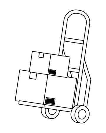 pushcart with box icon cartoon vector illustration graphic design Ilustração