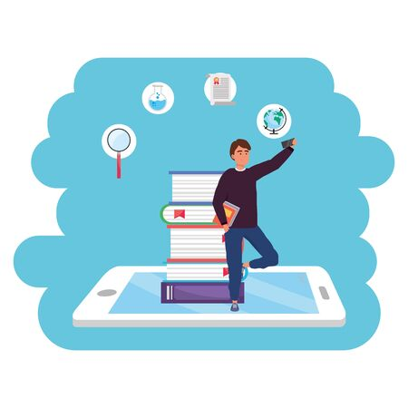 Online education millennial student man holding book tablet and book stack background young person career search splash frame vector illustration graphic design