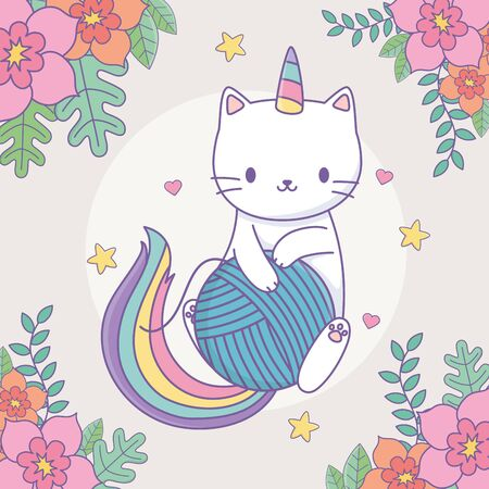 cute caticorn with floral decoration and ball of wool vector illustration design Vettoriali