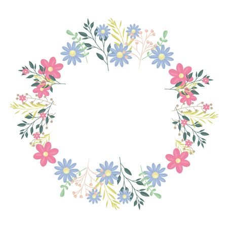 circular crown with flowers and leafs decoration vector illustration design