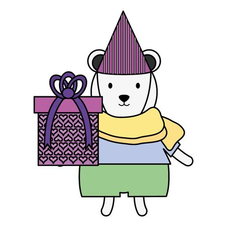 cute polar bear with gift in birthday party Ilustrace