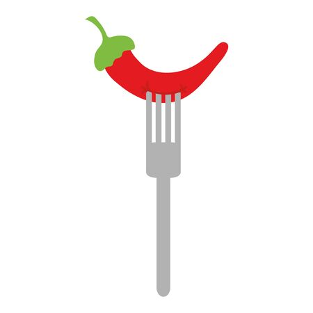 fork with fresh chili pepper vegetable Stock Illustratie