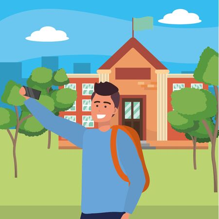 Student wearing backpack taking selfie using smartphone browsing on college or university campus background cityscape background vector illustration graphic design  イラスト・ベクター素材