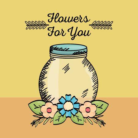 mason jar glass with flowers drawing vector illustration design