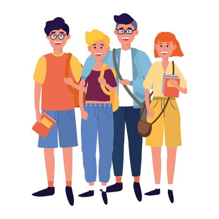 young people friends men and women enjoying cartoon vector illustration graphic design