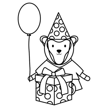 cute monkey with balloon helium and gift in birthday party Ilustrace