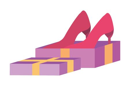 Heels inside gift  design vector illustration
