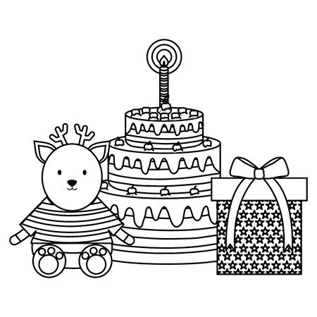 cute reindeer with sweet cake in birthday party Ilustrace