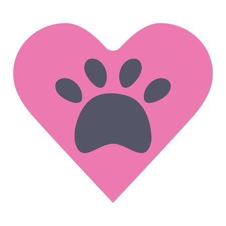 heart with paw print pet