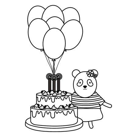 cute bear panda sweet cake in birthday party
