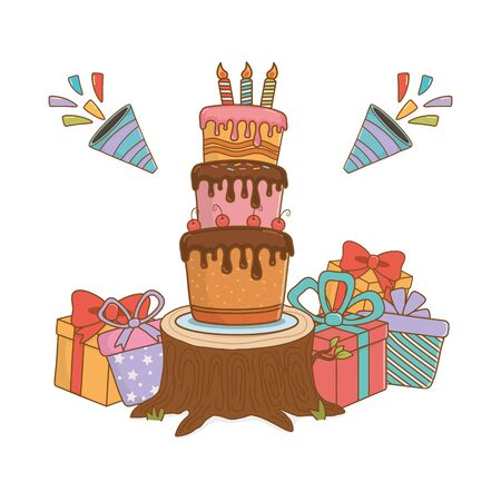 birthday party festive cartoon Ilustrace