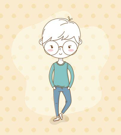beautiful little boy with eyeglasses