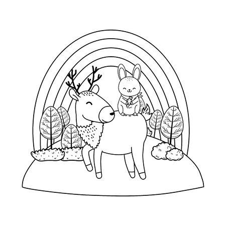 cute reindeer and rabbit in the field woodland characters Foto de archivo - 129145209