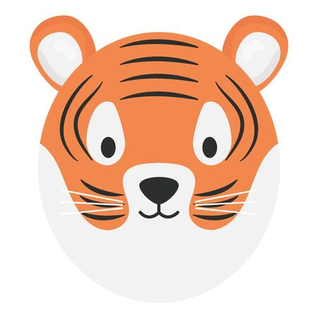 cute tiger head childish character Archivio Fotografico - 129145575