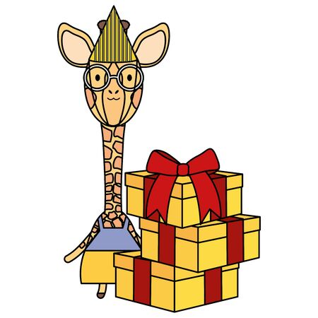 cute giraffe with gift box in birthday party
