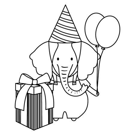 elephant with gift box and balloons helium in birthday party