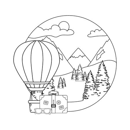 balloon air hot flying with pines and suitcase Stock Illustratie