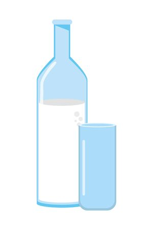Isolated milk bottle and glass design