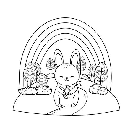 cute rabbit in the field woodland character vector illustration design Foto de archivo - 129146385