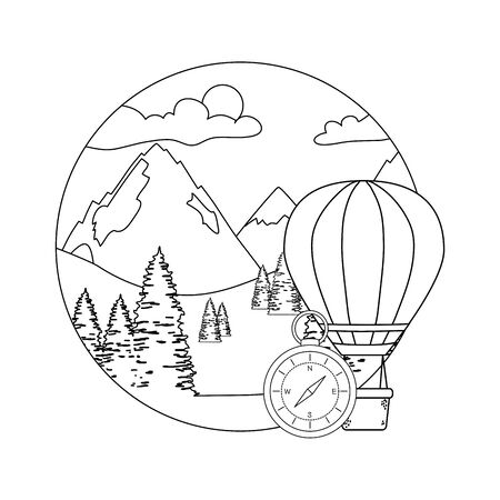 balloon air hot flying with pines and mountians scene