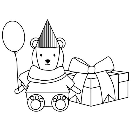 cute polar bear with balloon helium in party celebration Ilustrace
