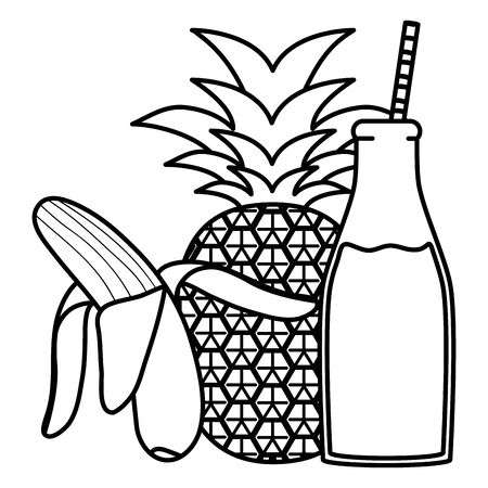 fresh pineapple and banana juice fruits in botttle with straw Иллюстрация