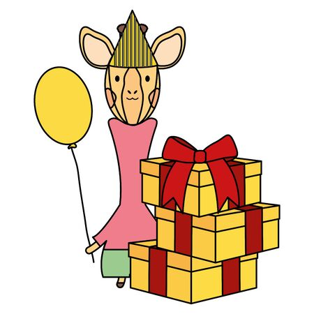 cute giraffe with balloon helium and gifts in birthday party Foto de archivo - 129148468