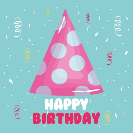happy birthday card with party hat and confetti Ilustrace