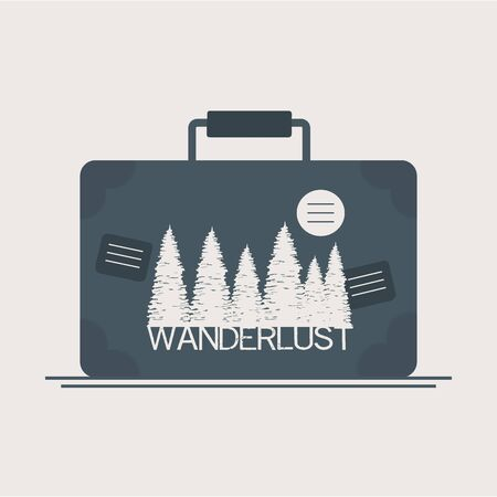 wanderlust label with forest scene in suitcase