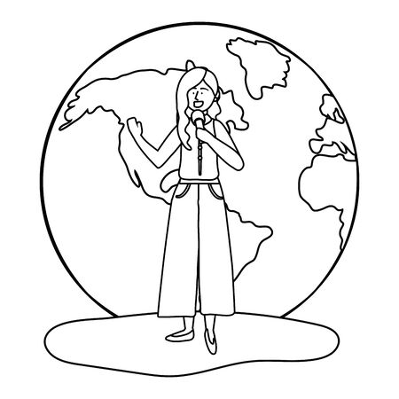 Woman and microphone design