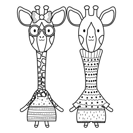 cute giraffes couple childish characters Foto de archivo - 129232763