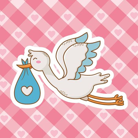 cute baby shower with stork cartoon Standard-Bild - 129232800