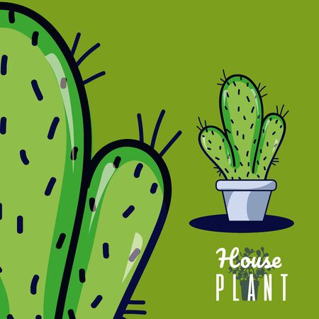 Cactus in pot house plant cartoons vector illustration graphic design Фото со стока - 129174322