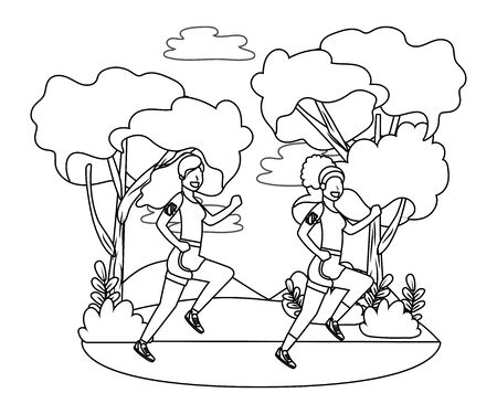 fitness sport women at outdoor scene cartoon vector illustration graphic design Foto de archivo - 129174324