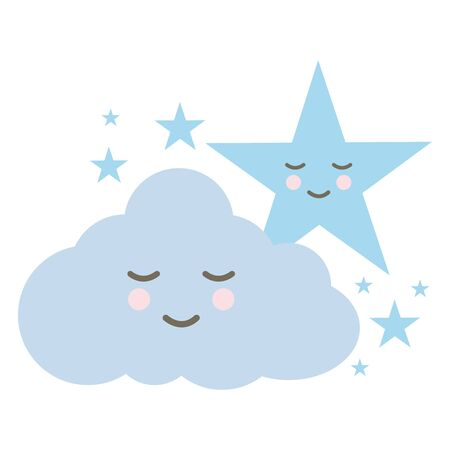 cute cloud and stars comic characters Ilustracja