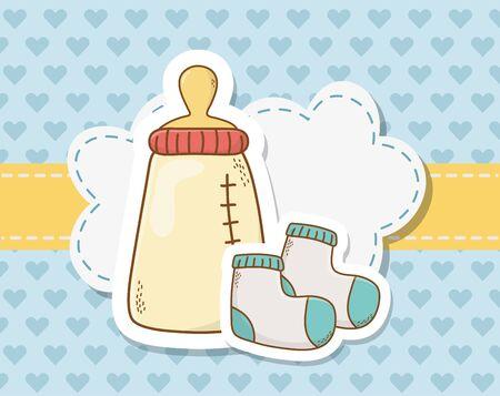 baby shower card with milk bottle and socks Foto de archivo - 129230059