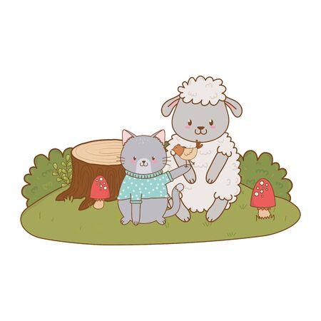 cute animals in the field woodland characters vector illustration design 일러스트