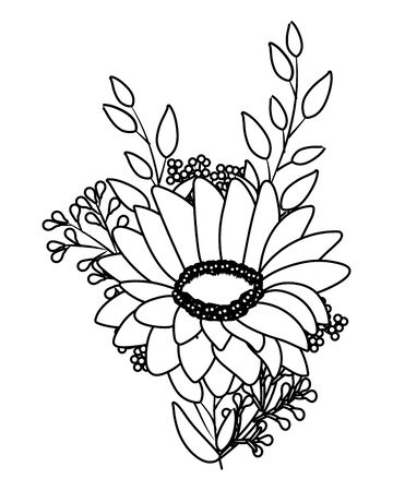 floral tropical cartoon in black and white Stock Illustratie