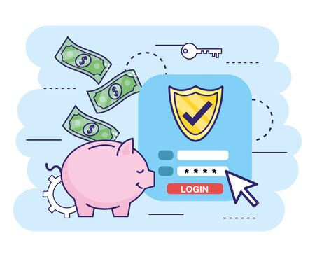 digital bank with security password and bills Stockfoto - 129230215