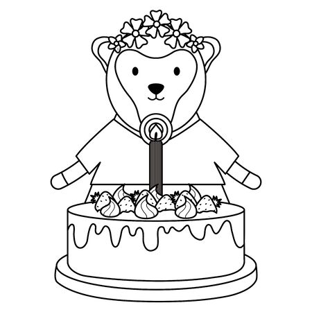 cute sheep with sweet cake in birthday party Foto de archivo - 129230353