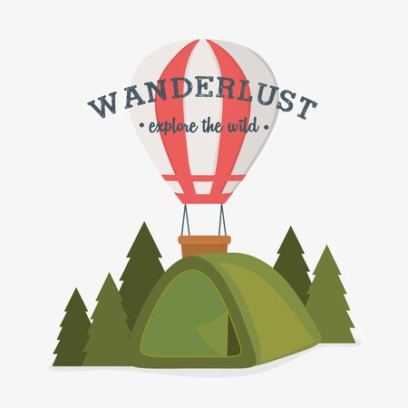 wanderlust label with forest scene and camping tent