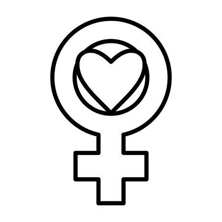 heart love with female gender symbol pop art style