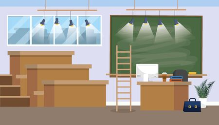 university classroom preparation with blackboard and lights vector illustration 向量圖像