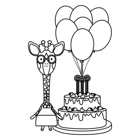 cute giraffe with balloon helium and cake in birthday party Foto de archivo - 129230460