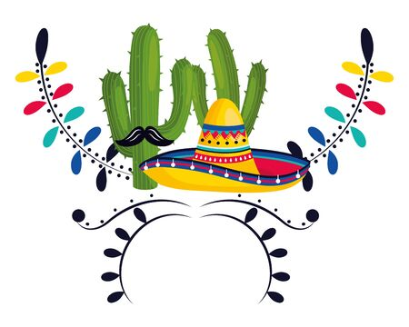 mexican culture festival mexico elements cartoon vector illustration graphic design