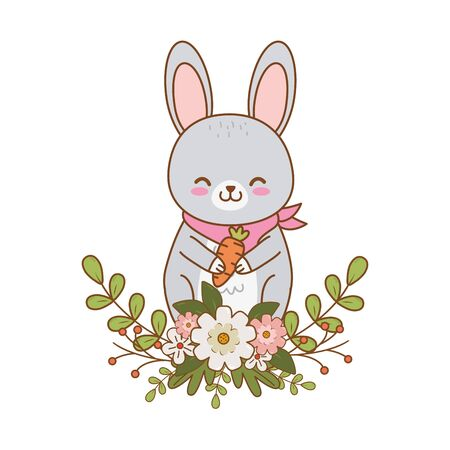 cute little animal rabbit bunny flowers frame cartoon vector illustration graphic design Ilustração