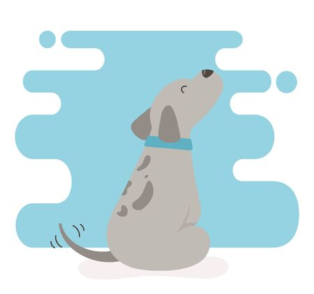 cute little dog mascot character Ilustracja