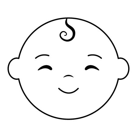 cute little baby boy head character Ilustracja