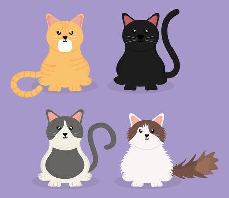 cute little cats mascots Ilustracja