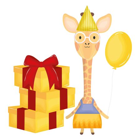 cute giraffe with balloon helium and gifts in birthday party Foto de archivo - 129232857